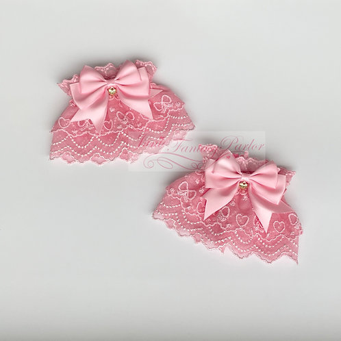 Bows and Hearts Lace Wrist Cuffs