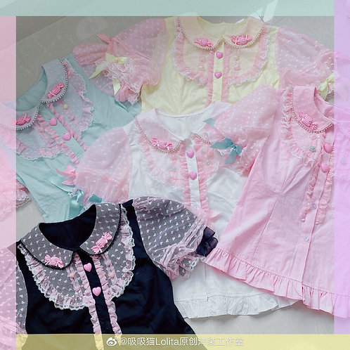 [Pre-order]CC Cat Sweet Candy Girl Short Sleeves Blouse