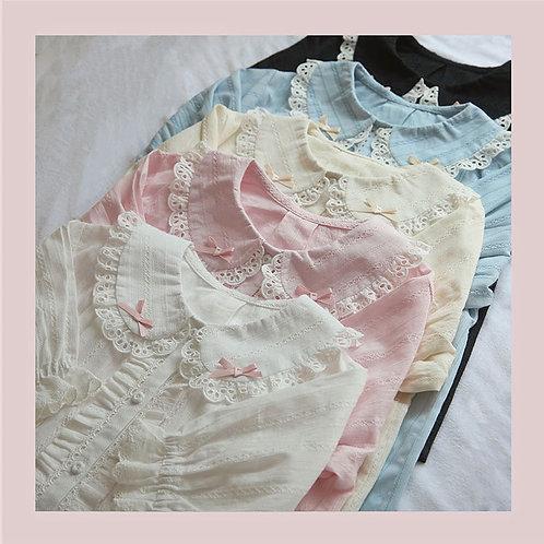 Mini Ribbons Short Sleeves Cotton Blouse