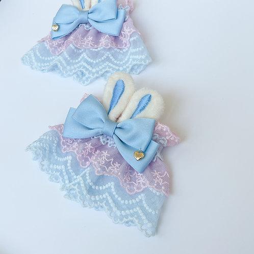 Heart Charm Bunny Ribbon Wrist Cuffs