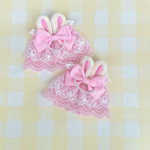 Bunny Pearl Ribbon Bow Wrist Cuffs