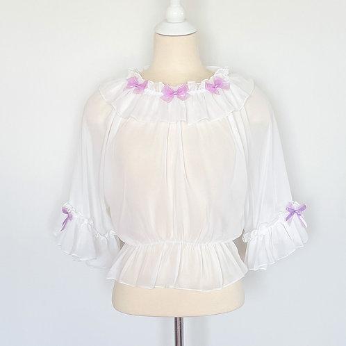 Fancy Ribbons Chiffon Cropped Top | White