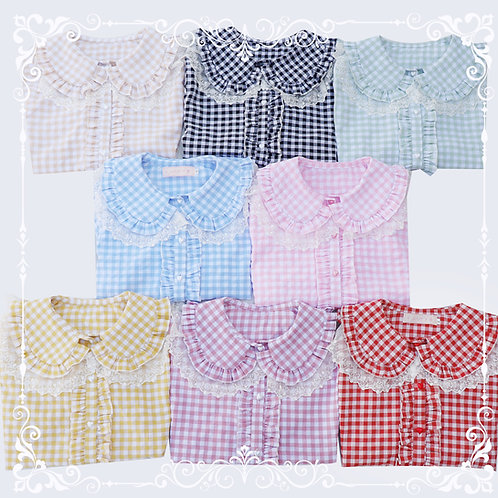 Candy Gingham Short Sleeves Blouse