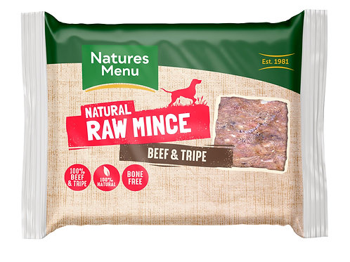 Natures menu beef & tripe mince 400g