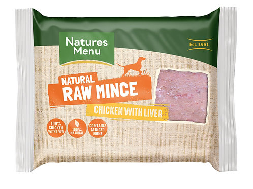 Natures menu chicken & liver mince 400g