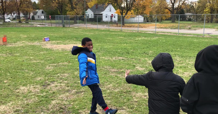 Students at Pulaski Elementary participate in a recycling relay race