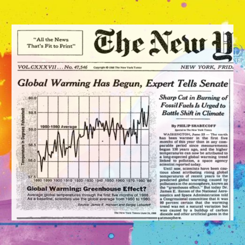 New York Times front page on June 24, 1988 reporting groundbreaking congressional testimony on climate change.