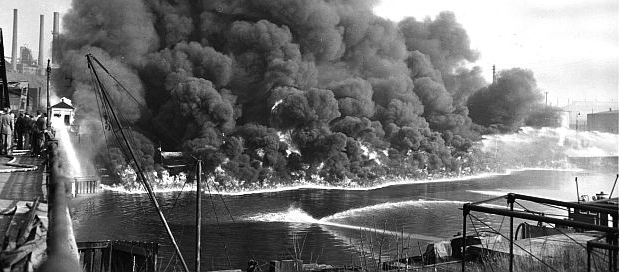 Fire on the Cuyahoga River, 1952.
