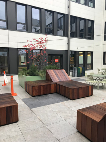 Aménagement paysager d'un patio d'entreprise à Villeurbanne