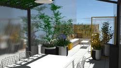 Vues en perspective de l'aménagement paysager de la terrasse