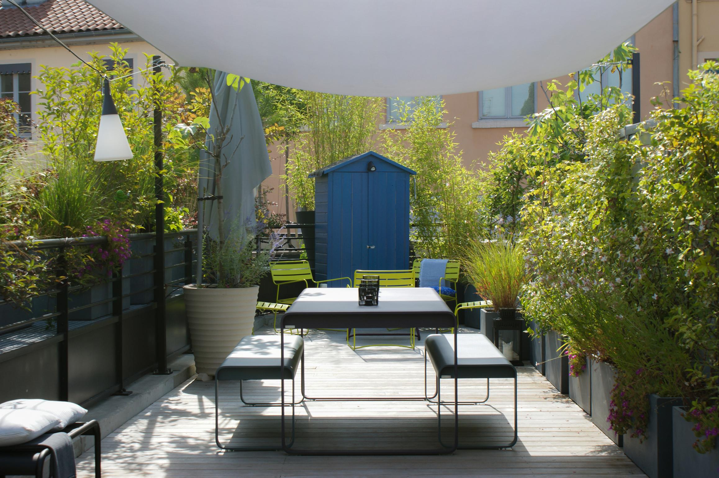 Cabane de jardin bleue entourée de graminées