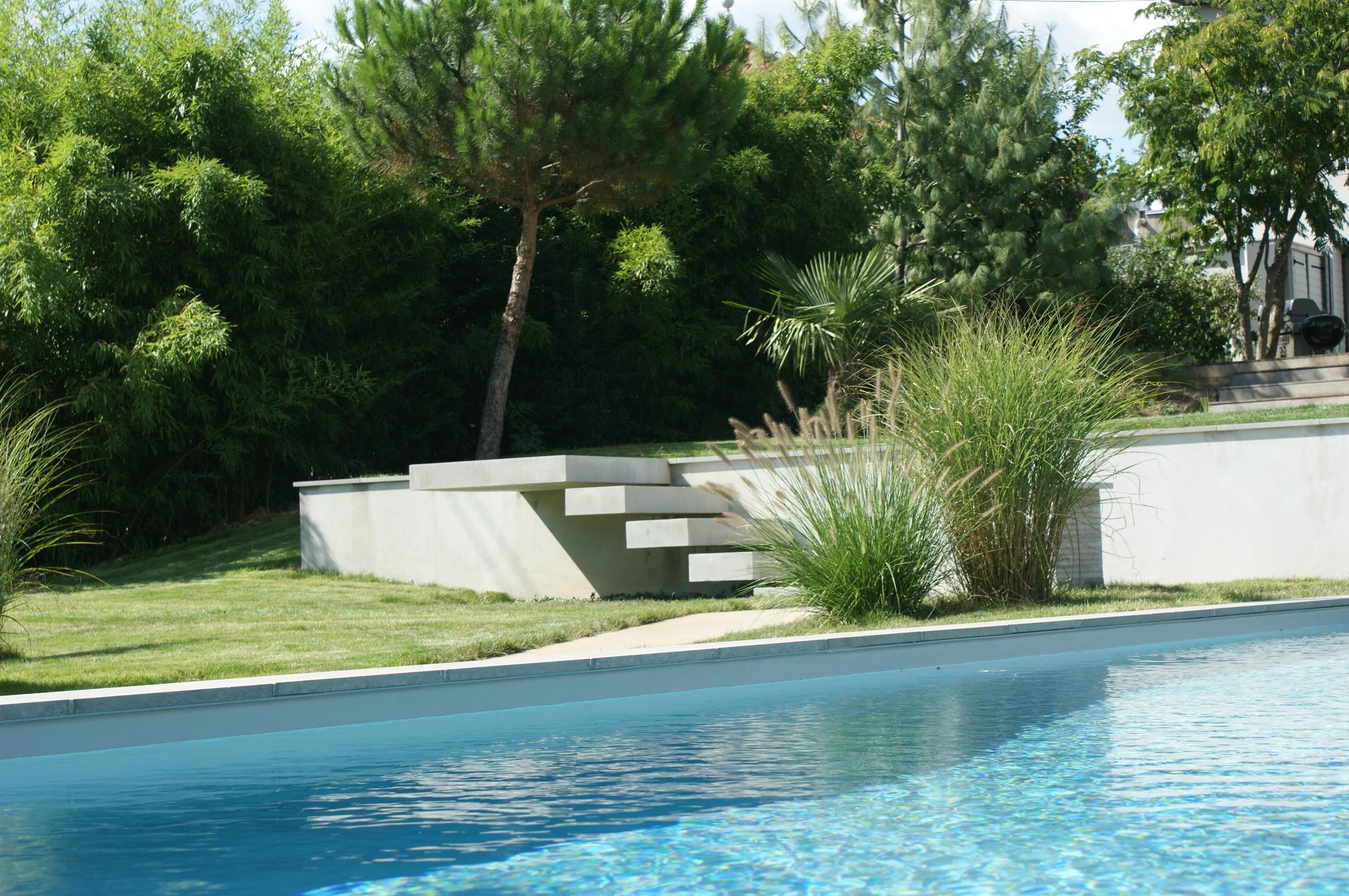 Création d'un jardin près de Lyon avec piscine et réalisation d'un gazon