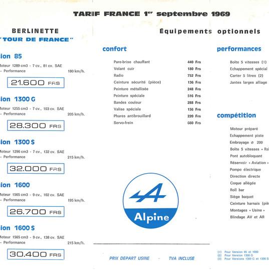Tarif A110 France 09.1969 P1.jpg