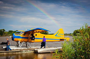Amphious plane with a rainbow