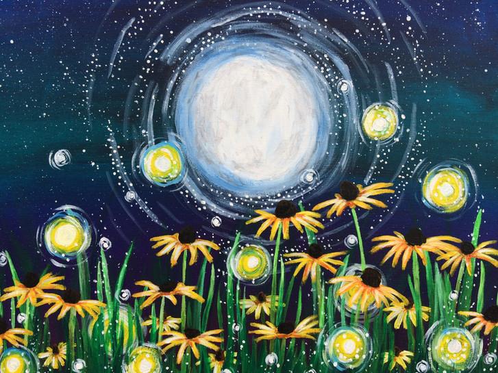Nighttime Daisy Field