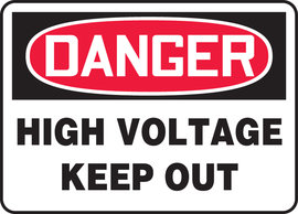 "10"" X 14"" Adhesive Vinyl DANGER HIGH VOLTAGE KEEP OUT"
