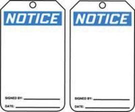 """5 7/8"""" X 3 1/8"""" 15 mils RP-Plastic Accident Prevention Blank Tag NOTICE"""