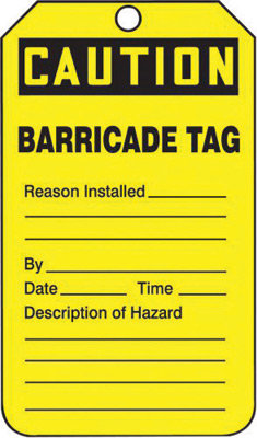 "5 3/4"" X 3 1/4"" 10 mil PF-Cardstock CAUTION BARRICADE TAG"