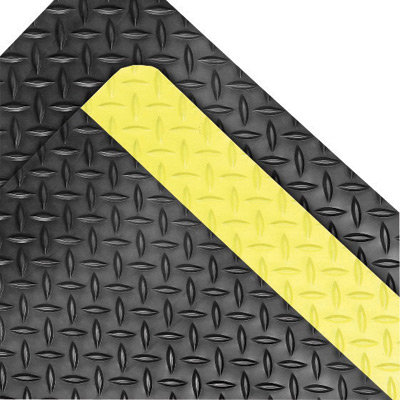 """NoTrax 3' X 75' Black And Yellow 9/16"""" Thick Rubber And Sponge Dura Trax"""