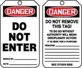"5 3/4"" X 3 1/4"" 15 mils RP-Plastic Safety Tag DANGER DO NOT ENTER"