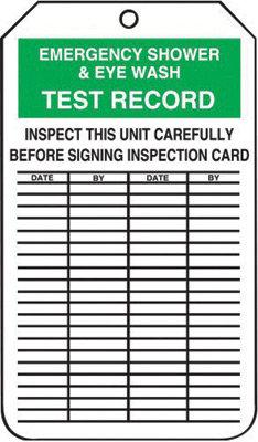 "5 3/4"" X 3 1/4"" 15 mil RP-Plastic EMERGENCY SHOWER & EYEWASH TEST RECORD"