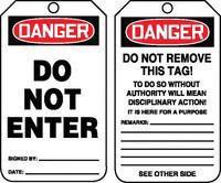"5 3/4"" X 3 1/4"" 10 mils PF-Cardstock Safety Tag DANGER DO NOT ENTER"