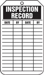 """5 3/4"""" X 3 1/4"""" 15 mil RP-Plastic  INSPECTION RECORD"""