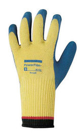 Ansell Sz 7 PowerFlex Plus HD Cut Resistant Blue Rubber Coated Work Gloves