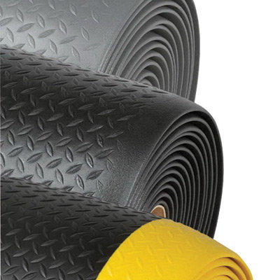 """NoTrax 2' X 60' Black And Yellow 1/2"""" Thick Dyna-Shield"""