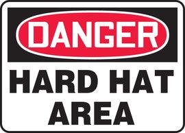 "10"" X 14"" Adhesive Vinyl PPE DANGER HARD HAT AREA"
