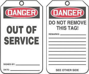 "5 3/4"" X 3 1/4"" HS-Laminate DANGER OUT OF SERVICE/DANGER DO NOT REMOVE"