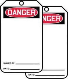 "5 7/8"" X 3 1/8"" RP-Plastic Blank Tag DANGER"