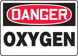 "10"" X 14"" Plastic DANGER OXYGEN"