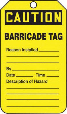 "5 3/4"" X 3 1/4"" 15 mil RP-Plastic CAUTION BARRICADE TAG"