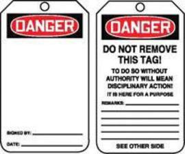"5 3/4"" X 3 1/4"" 15 mils RP-Plastic Safety Tag DANGER (BLANK)"