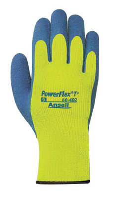 Ansell Size 8 Blue & Hi-Viz Yellow PowerFlex  Lined Gloves