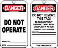 "5 3/4"" X 3 1/4"" 10 mils PF-Cardstock DANGER DO NOT OPERATE"