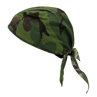 OccuNomix Jungle Camouflage Tuff Nougies 100% Cotton Deluxe Doo Rag Tie Hat