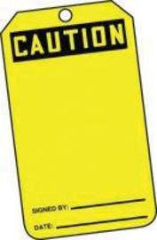 "5 7/8"" X 3 1/8"" RP-Plastic Accident Prevention Blank Tag CAUTION"