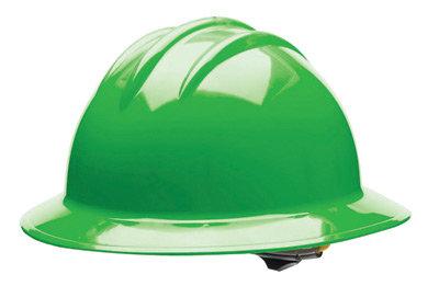 Bullard Green HDPE Full Brim Hard Hat w/6 Pt. Rachet Suspension