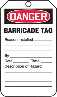 """5 3/4"""" X 3 1/4"""" 10 mil PF-Cardstock DANGER BARRICADE TAG"""