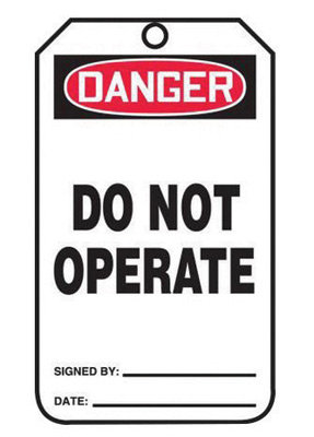 "5 3/4"" X 3 1/4"" 15 mil RP-Plastic DANGER DO NOT OPERATE"
