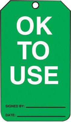 "5 3/4"" X 3 1/4"" 10 mil PF-Cardstock Status Tag OK TO USE"