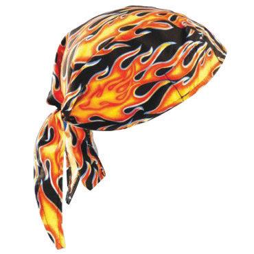 OccuNomix Big Flames Tuff Nougies 100% Cotton Deluxe Doo Rag Tie Hat