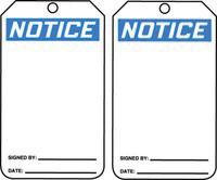 """5 7/8"""" X 3 1/8"""" 10 mils PF-Cardstock Accident Prevention Blank Tag NOTICE"""