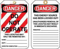 """5 7/8"""" X 3 1/8"""" RP-Plastic Lockout - Tagout Tag DANGER DO NOT OPERATE"""