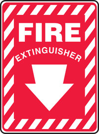 "14"" X 10"" Plastic Fire & Emergency FIRE (With Arrow)"