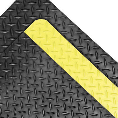 """NoTrax 3' X 75' Black And Yellow 1"""" Thick Rubber Dura Trax  Grande"""