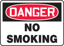 "7"" X 10"" Adhesive Vinyl DANGER NO SMOKING"