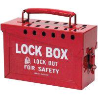 "Brady Red 6"" X 9"" X 3 1/2"" Heavy Duty Steel Portable Group Lock Box"